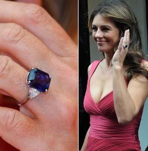 Elizabeth Hurley's sapphire ring with  trillion cut diamond accent stones