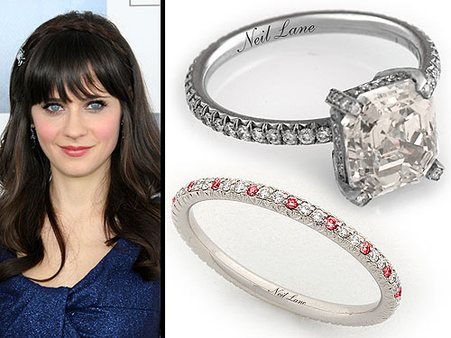 Zooey Deschanel's stunning asscher cut ring