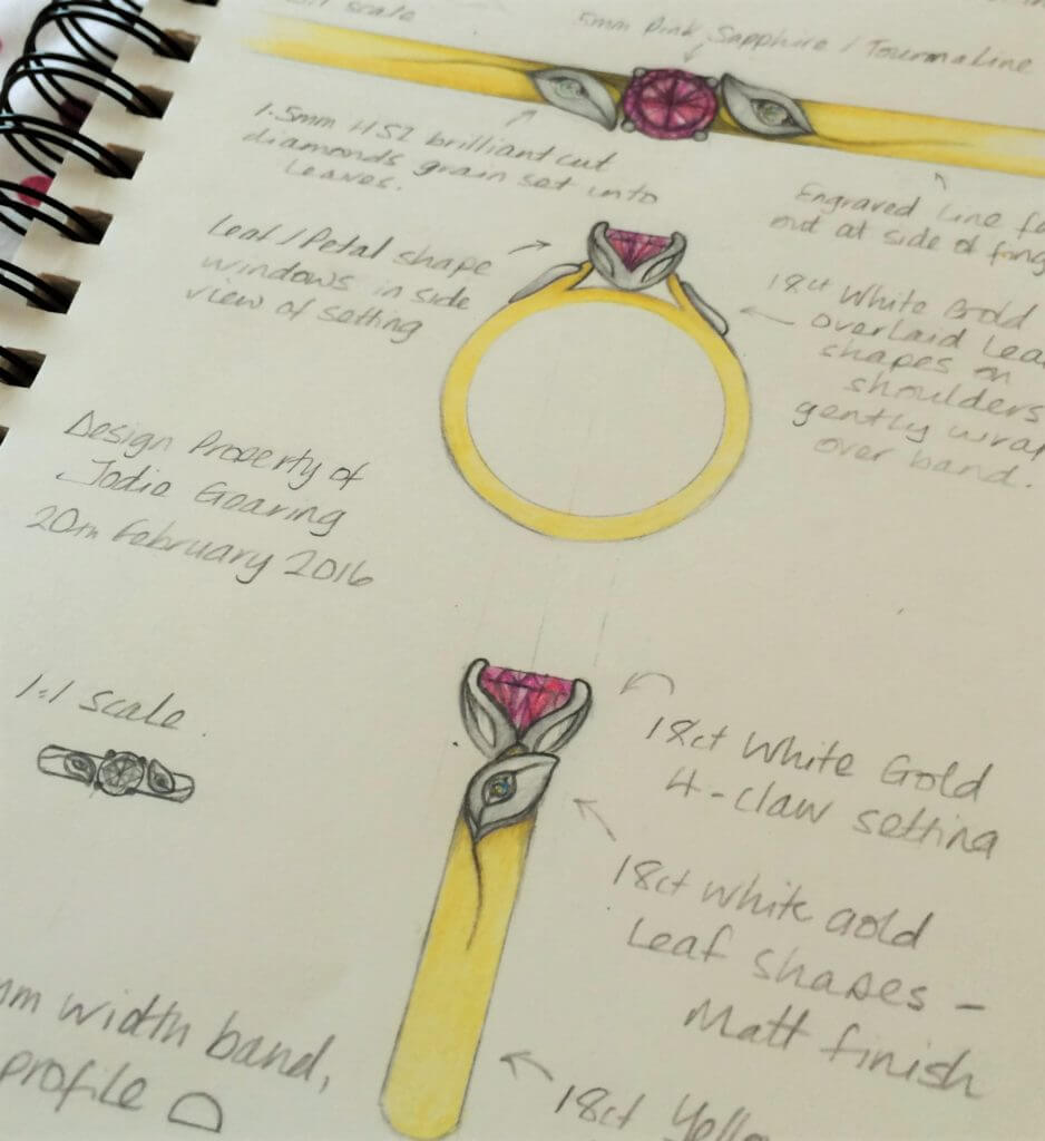 engagement ring design zoomed in