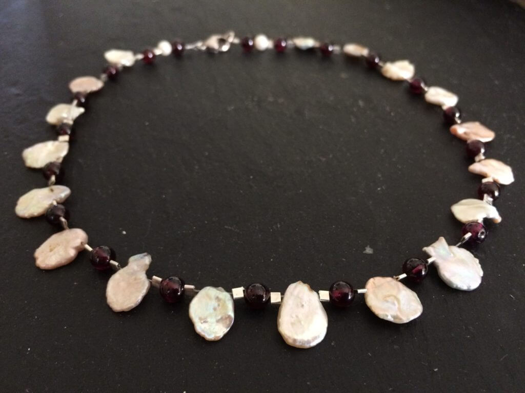 Pearl and Garnet re-strung necklace